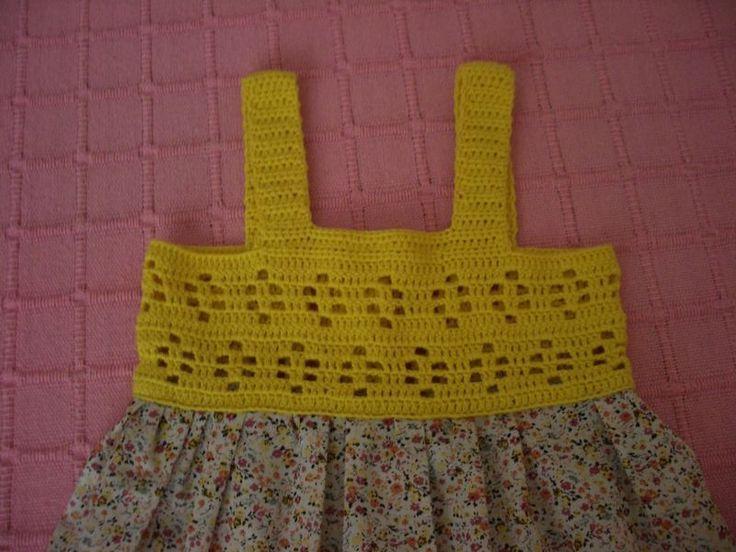 vestido en crochet y tela para 3 años | María Oliva(Marioly)
