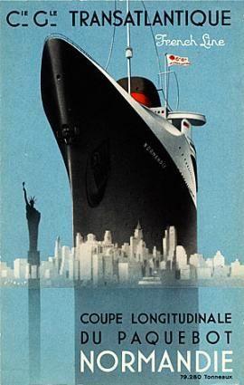 Affiche Voyage Transatlantique du Paquebot Normandie.