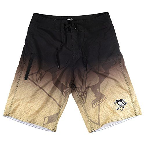 """Pittsburgh Penguins NHL """"Gradient"""" Men's Boardshorts Swim Trunks  Contrast stitching  93% polyester/7% elastic  Gradient graphics  Officially licensed  One side pocket"""