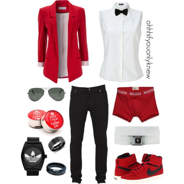 A fashion look from January 2013 featuring sleeveless tops, red jacket and Cheap Monday. Browse and shop related looks.
