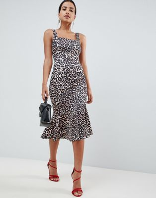 2446a01cdeea DESIGN leopard print pep hem pencil dress with buckle | Fashion ...