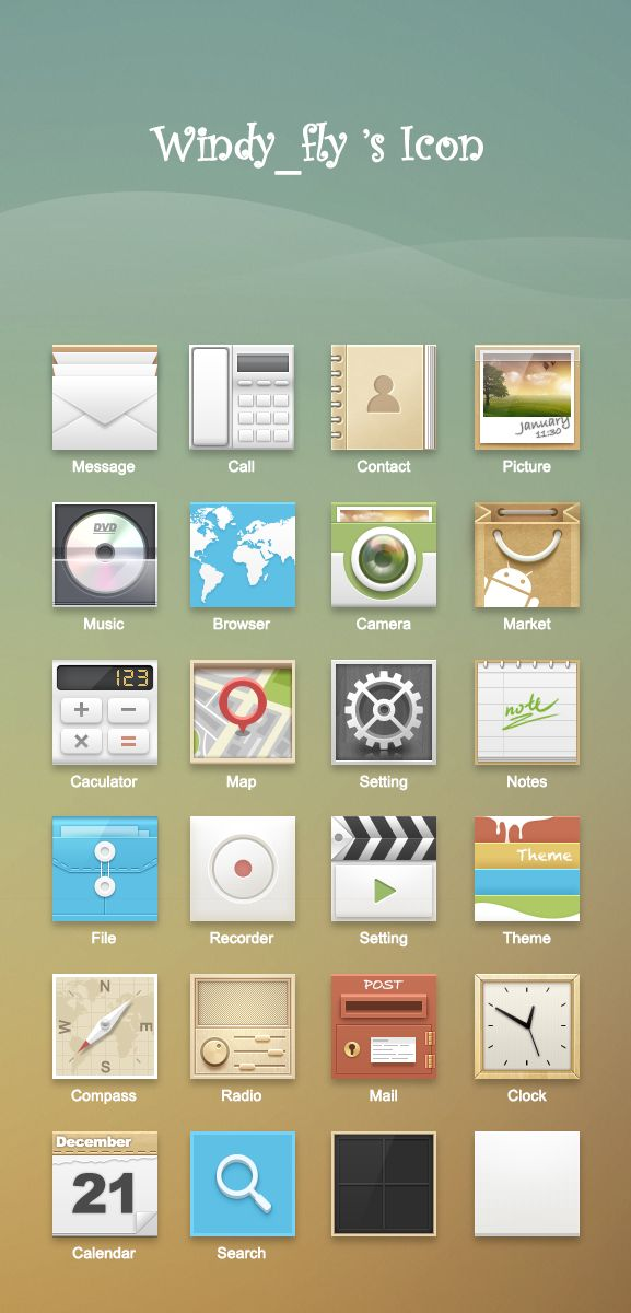 [International Android UI Design Community] Icons by Windy_fly