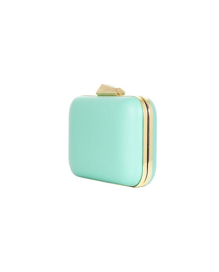 OLGA BERG SAFFIANO LEATHER EFFECT CLUTCH BAG S/S 2016 Saffiano leather effect clutch bag water green color clip closure removable shoulder strap metallic gold trim 22x16x4,5 cm