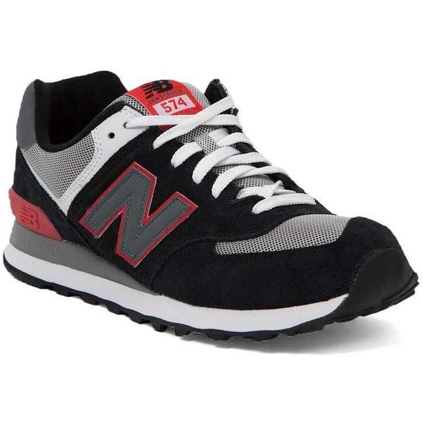 New Balance 574 Shoe - Black/Black Red US 13 ($30) ❤ liked on Polyvore featuring men's fashion, men's shoes, men's sneakers, mens black sneakers, new balance mens shoes, mens shoes, mens lace up shoes and new balance mens sneakers