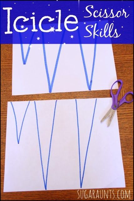 Icicle craft and Scissor Skills for beginners. This post shares tips on modifications for beginner scissor users or children with fine motor difficulties. By Sugar Aunts.