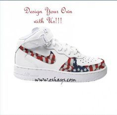 Custom American Flag Nike Air Force Ones- Hi Tops