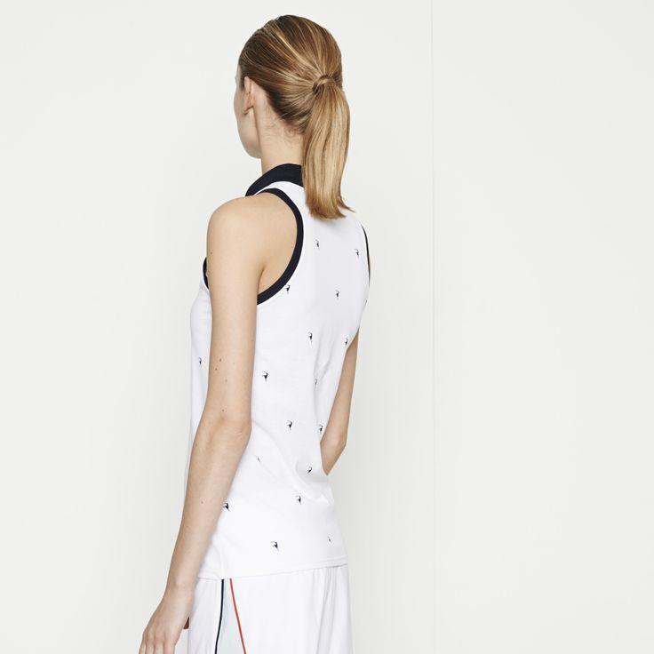Polo Lacoste Sport sans manches imprimé Edition Roland Garros - BLANC/MARINE | LACOSTE