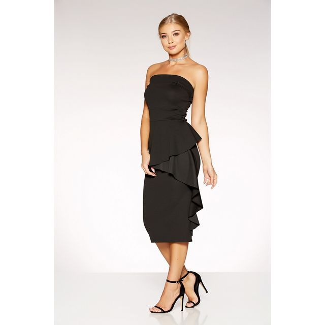 Black crepe bardot ruffle side midi dress