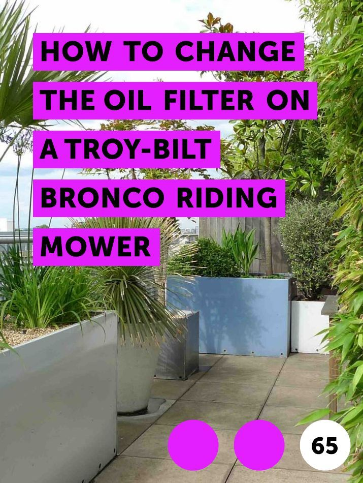 Learn How To Change The Oil Filter On A Troy Bilt Bronco Riding Mower How To Guides Tips And Tricks Mosquito Plants Plants Lantana Plant