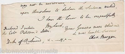SIR CHARLES MORGAN 2ND BARONET WELSH POLITICIAN ANTIQUE AUTOGRAPH SIGNED NOTE