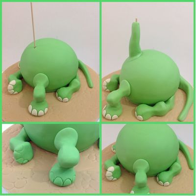 So Arlo's head is secure, push a skewer into the sponge cake and hide it with …  – Cake
