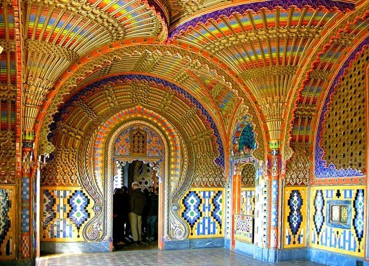 Beautiful ceiling inside Castello di Sammezzano in Reggello, Tuscany, Italy.
