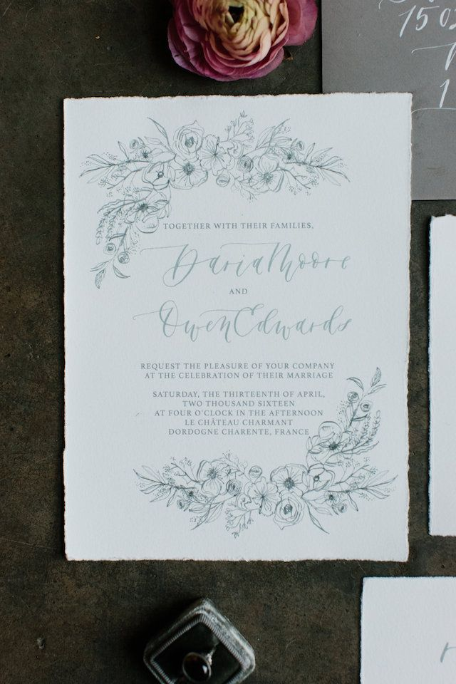 wedding invitations that look like theatre tickets%0A Monochromatic Illustrated Floral Wedding Invitations