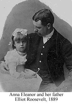 "Eleanor Roosevelt (1884-1962) & the father she adored, Elliott Bulloch Roosevelt I (28 Feb 1860 -14 Aug 1894) in 1889. Elliott Roosevelt I was the brother of the 26th President Theodore ""T.R."" Roosevelt, Jr. 1858-1919. They were 2 of the 4 children of Theodore ""Thee"" Roosevelt, Sr. (1831-1878) & Martha Stewart ""Mittie"" Bulloch (1835-1884)."