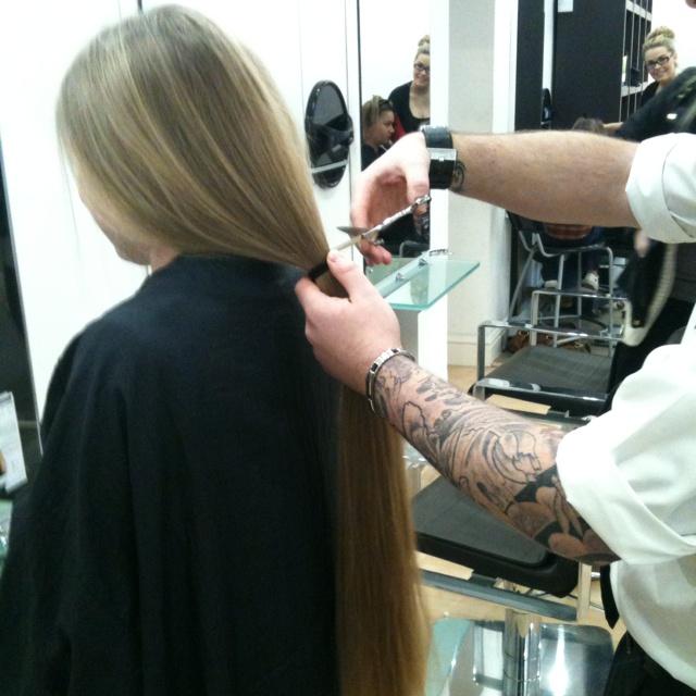 Charity hair cut for McMillan