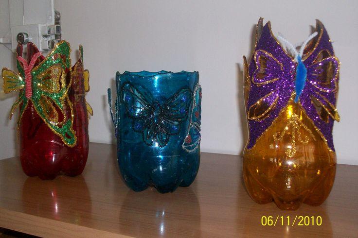 Botellas decoradas, portavelas