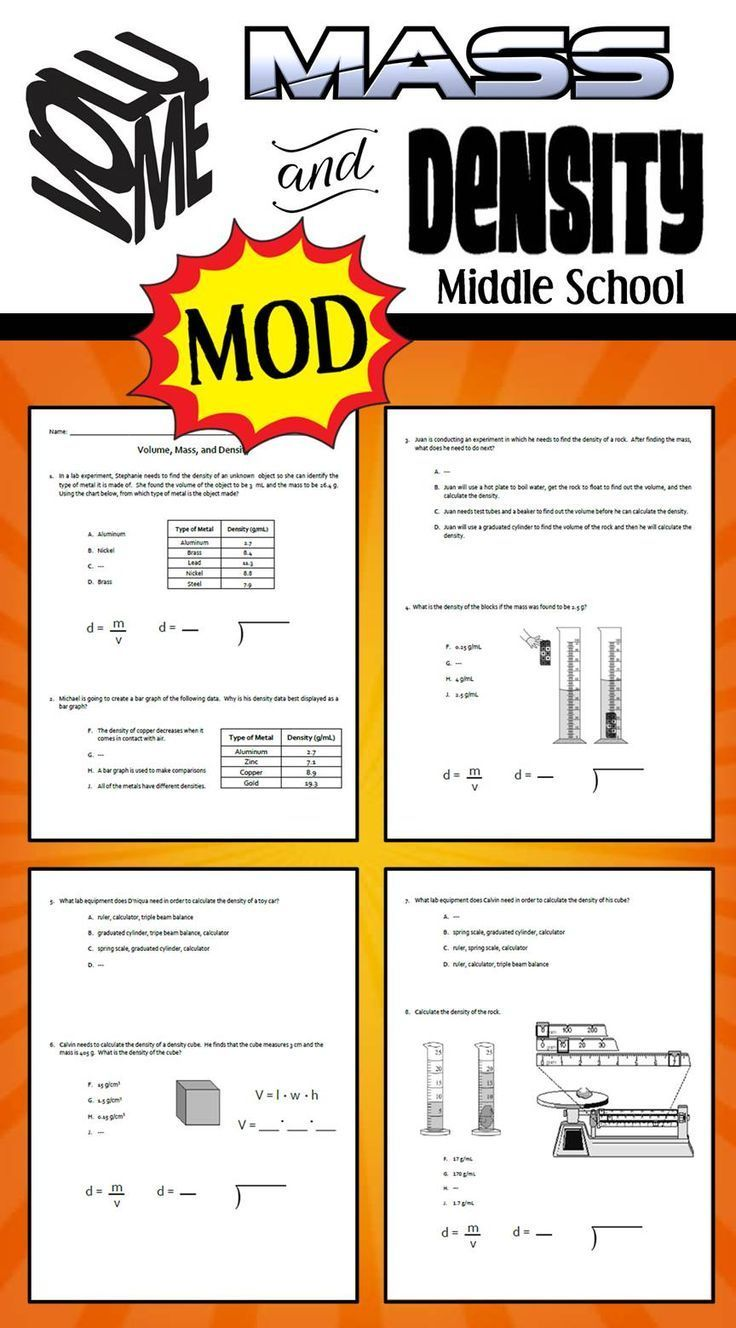 Modified Version Of Volume Mass And Density Ws Students Will Apply Wha Elementary School Science Elementary Science Activities Middle School Science Teacher