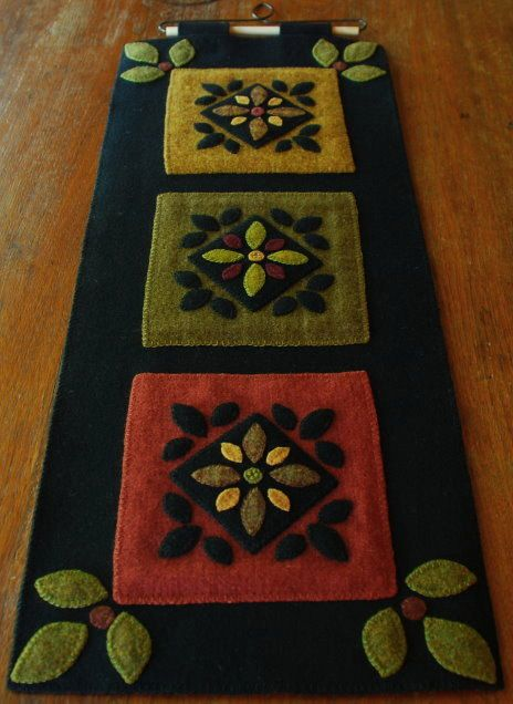 Hand dyed rug hooking wool applique wall by HorseAndBuggyCountry