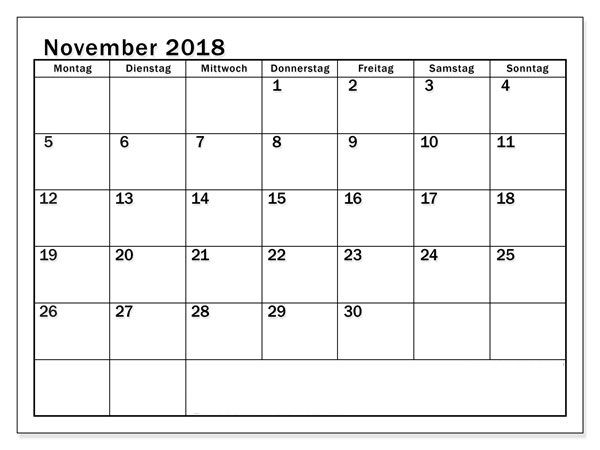 Kalender 2018 November Mit Word Dokument Kalender 2018 November