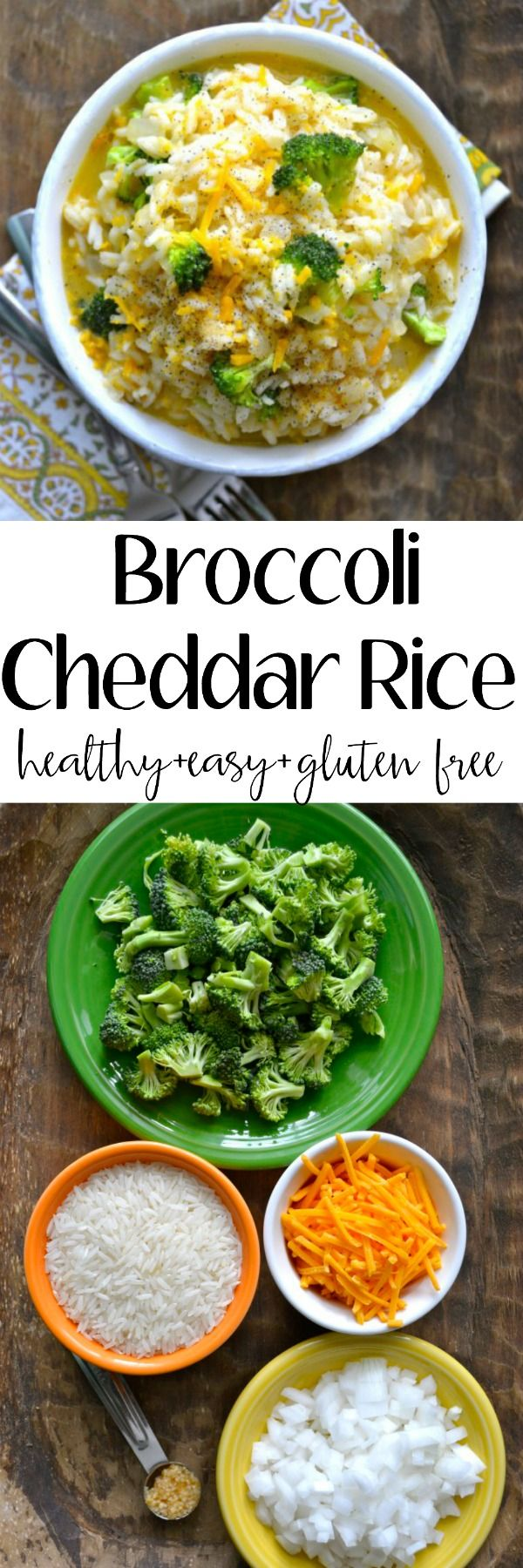Creamy Broccoli Cheddar Rice!! This is the ultimate comfort food! Perfect as an easy side dish or a vegetarian meal! Loaded with sharp cheddar, tender rice and fresh broccoli! Gluten free!