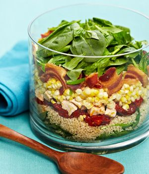 Layered Quinoa, Roasted Corn and Tomato Salad with Chicken and Bacon