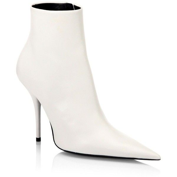 Balenciaga Leather Stiletto Booties ($1,015) ❤ liked on Polyvore featuring shoes, boots, ankle booties, white boots, side zip boots, leather sole boots, white leather boots and pointed toe booties