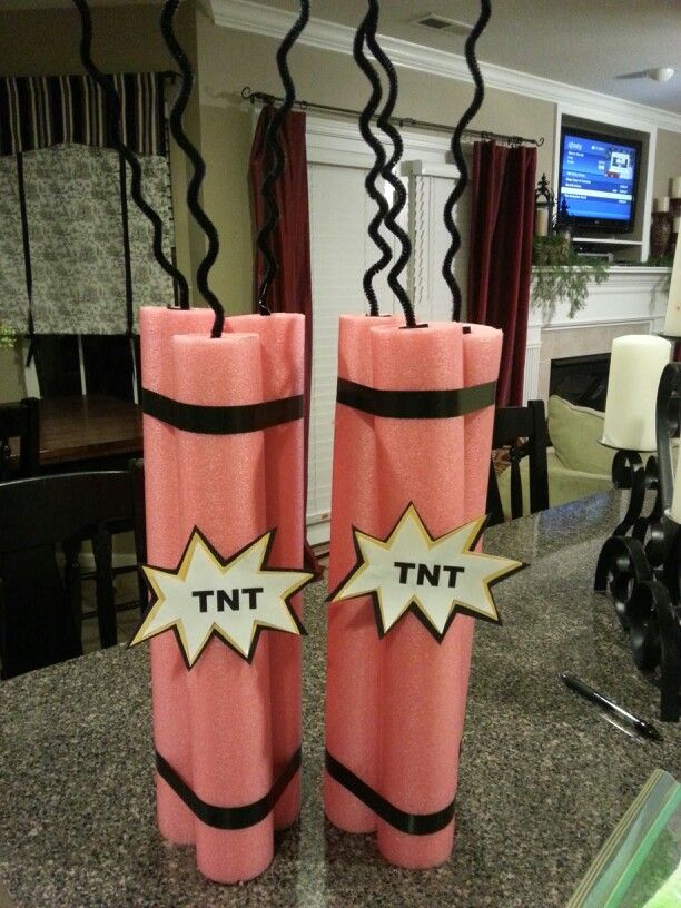 VBS Spy Decoration. TNT made out of pool noodles, electrical tape, and pipe cleaners!