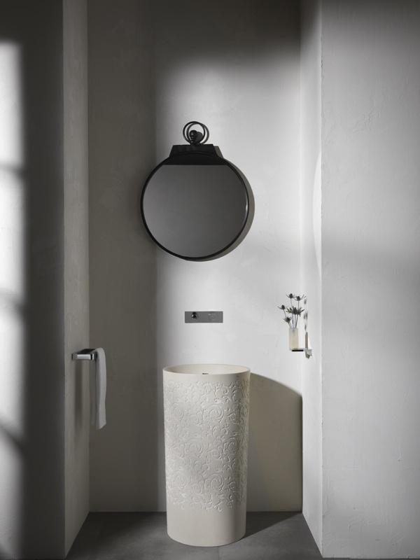 Blu Bathworks Coco blu•stone™ pedestal basin embossed in biscuit color