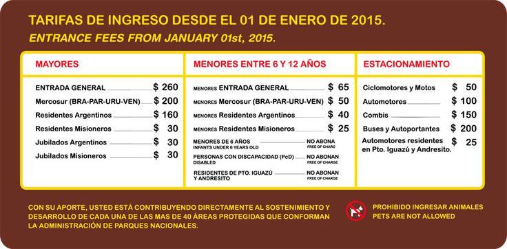 tarifas-enero-2015-cataratas del iguazu