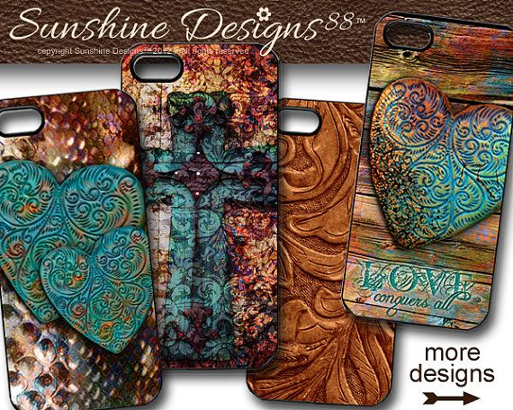 iPhone 4 Case Cover Cross Rustic Western Leather Custom on Etsy, $19.98