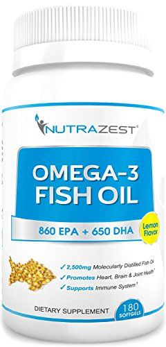 Nutrazest Premium Omega 3 Fish Oil - 2,500mg Lemon Flavored, Cold Pressed, Triple Strength Fish Oil Capsules - 860mg EPA