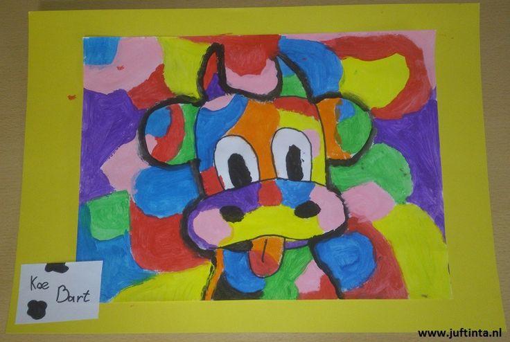 krava s farebnými škvrnami