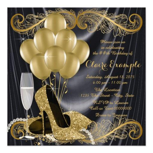 451 best black gold birthday party invitations images on pinterest black and gold birthday party hollywood glamour invitation filmwisefo