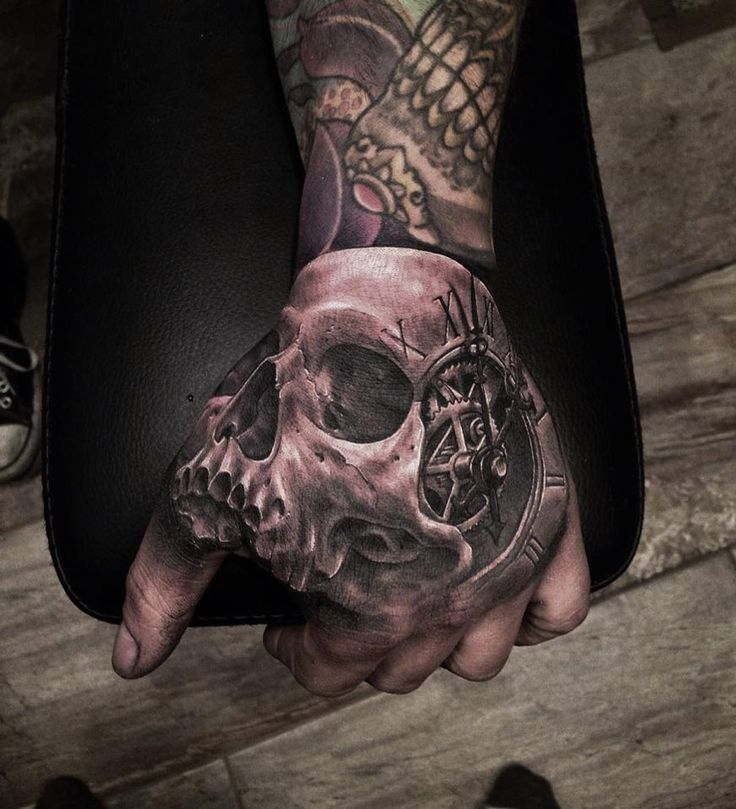 Skull & Clock Hand Tattoo  http://tattooideas247.com/3d-skull-clock/