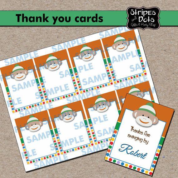 Sock Monkey Printable LabelsSock Monkey Name by StripesnDotsGifts