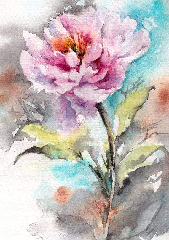 Original Watercolor Painting Pink Peony Painting by CanotStop