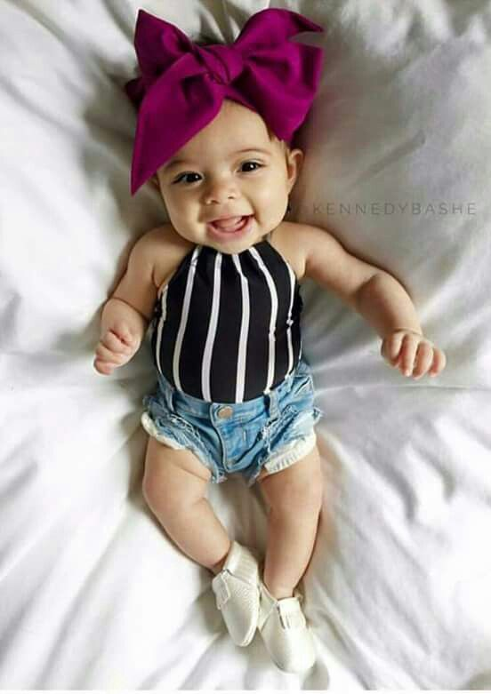 Other than the inappropriate booty shorts on the baby, the look is adorable. Beautiful baby!