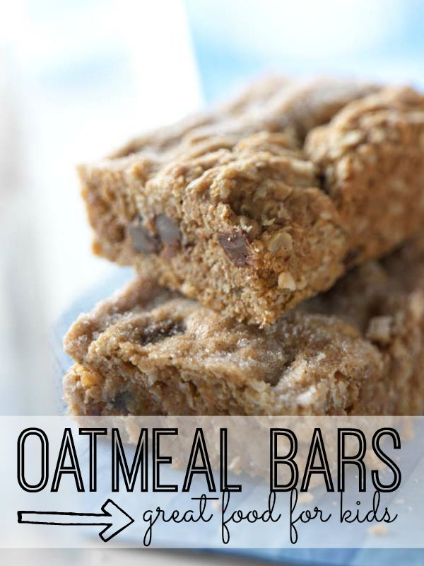 With whole grains and raisins, these oatmeal bars are a healthier alternative to a typical cookie. Kids will love to cook (and eat) them!