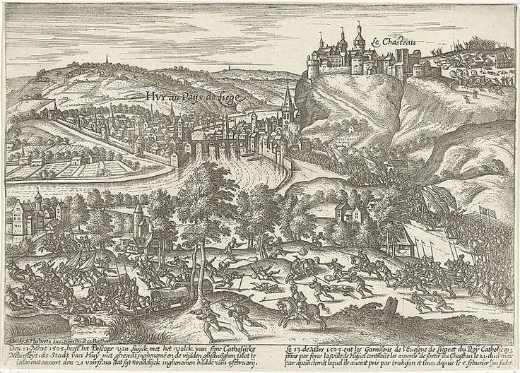 7-20.03.1595.Siege of Huy. by Frans Hogenberg.Rijksmuseum Amsterdam.(present-day Belgium) also known as the Assault of Huy, was a Spanish victory that took place at Huy,Archbishopric of Liège,Low Countries,as part of the Eighty Years'War,the French Wars of Religion,and the Anglo-Spanish War(1585-1604).Despite the promises of Prince Maurice of Orange to relieve Huy,the forces of the new Governor-General of the Spanish Netherlands,Don Pedro Henríquez de Acevedo,Count of Fuentes
