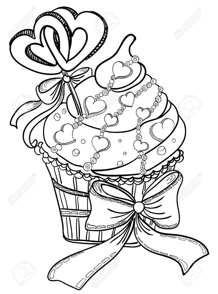 Вектор рука рисунок кекс с сердцем Клипарты, векторы, и Набор Иллюстраций Без Оплаты Отчислений. Image 23468594.