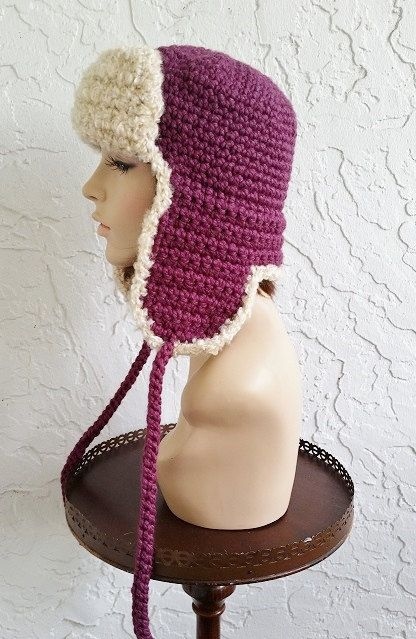 hand crochet  - russian trapper bomber aviator Hat  -  Fig  - longer earflaps -  Made to ORDER