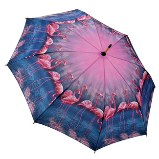 Galleria Art Print Walking Length Umbrella - Flamingo