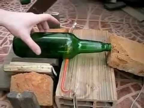 COMO CORTAR UNA BOTELLA DE VIDRIO RAPIDO EN CASA cut a glass bottle easily - YouTube