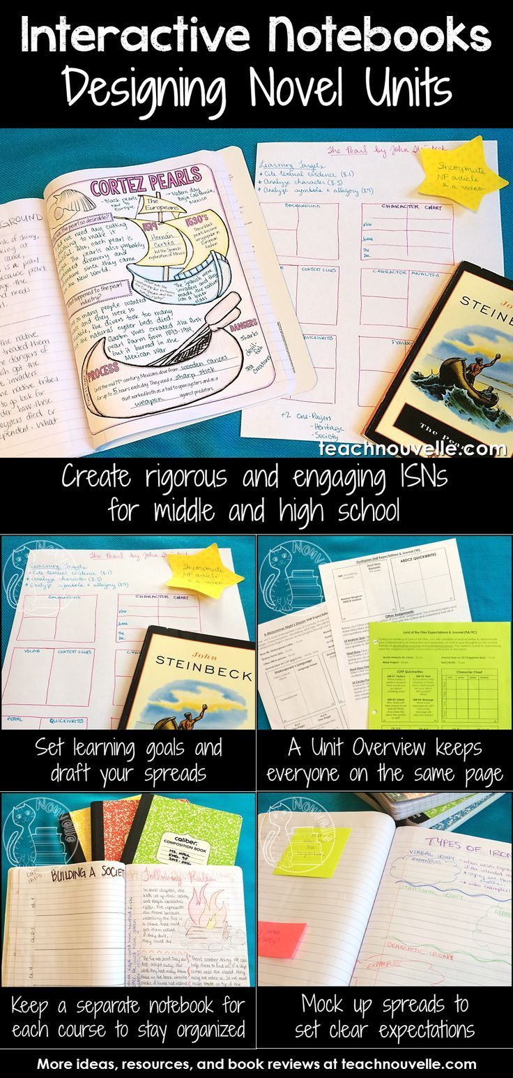 Using Interactive Notebooks to teach class novels can be rigorous and engaging, even for middle and high school. Here are some tips and tricks for setting up your novel units. Read more at http://teachnouvelle.com