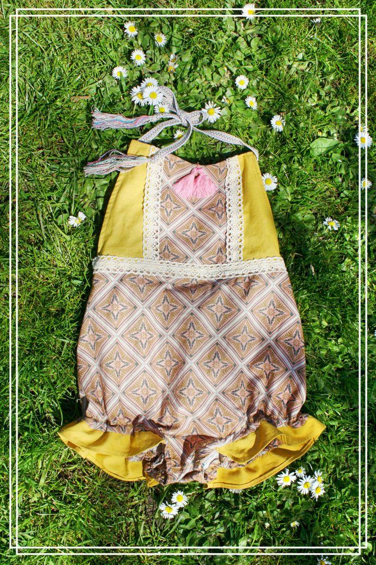Yellow Vintage Pattern Baby Boho Summer Gypsy Romper with Pink Tassels by JuniperAndGypsy on Etsy
