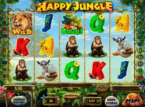 Онлайн автомат Happy Jungle на деньги. Онлайн аппарат Happy Jungle познакомит игроков с животным миром диких джунглей. Многие игроки называют его «Мадагаскар». Здесь есть 5 барабанов, 20 линий выплат, символы Wild и Scatter. Есть бонусная игра, позволяющая помимо выигрыша получит�