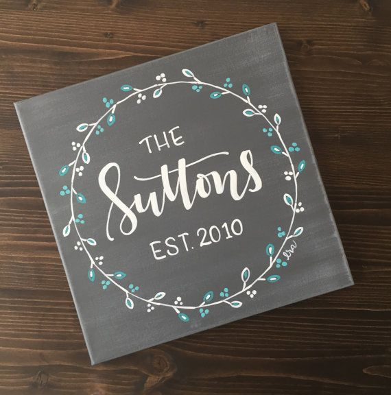 Personalized family name signs, customizable canvas sign, family established sign, hand painted last name sign