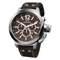 TW STEEL-MENS FASHION-Men's Watches-CEO Canteen Chronograph Mens Watch CE1011-£99.00-This CEO Canteen Chronograph Mens Watch CE1011 is ideal for any man who likes to balance fashion and sophistication. The large stainless steel case combined with a brown leather strap with contrasting white stitching makes this wristwatch a mixture of modern and classic styling. However this gents watch is as much about practicality as it is style; it is water resistant up to 100 metres and has contrasting…