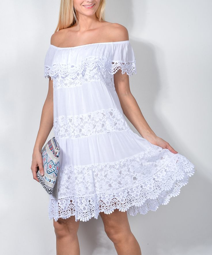White Lace-Panel Off-Shoulder Dress