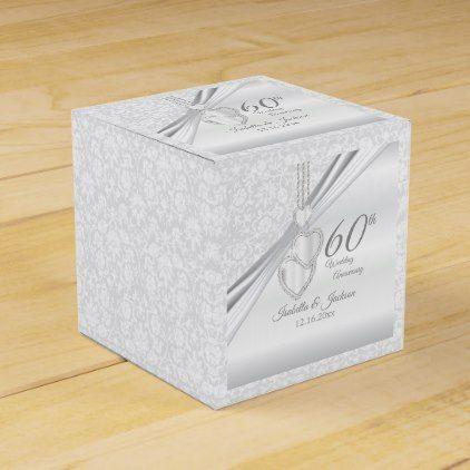 60th Diamond Wedding Anniversary Favor Box - anniversary cyo diy gift idea presents party celebration